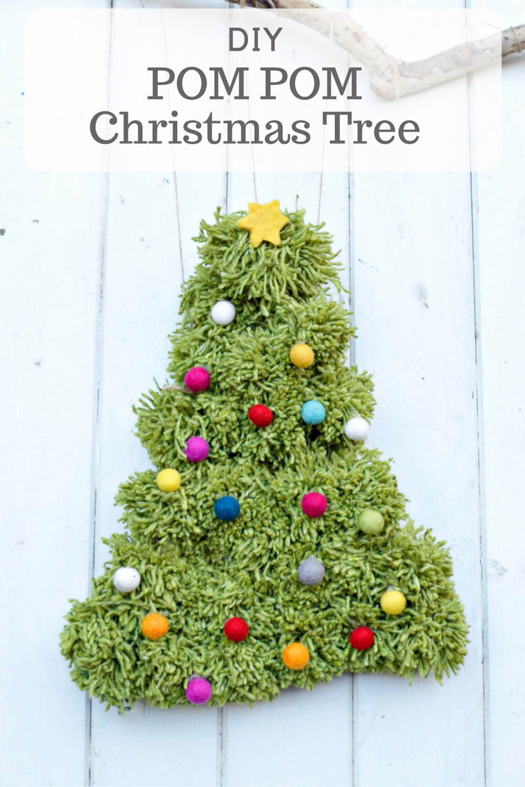 How to make a fun pom pom Christmas tree.  Works really well as either a gorgeous wall hanging or wreath decoration for your door.