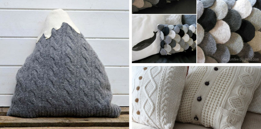Easy to make and inspiring sweater pillows