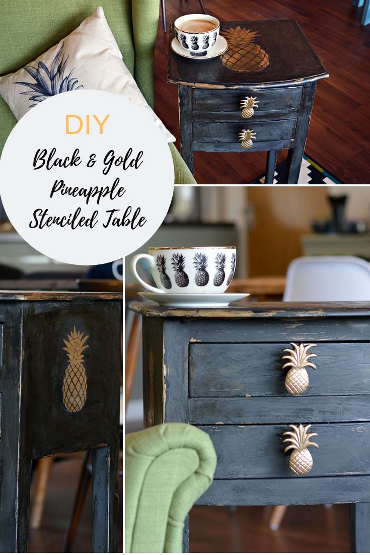 I show you how you can make stenciled furniture like I did with this shabby glam pineapple stenciled table. I also used a chalk paint Vaseline technique.