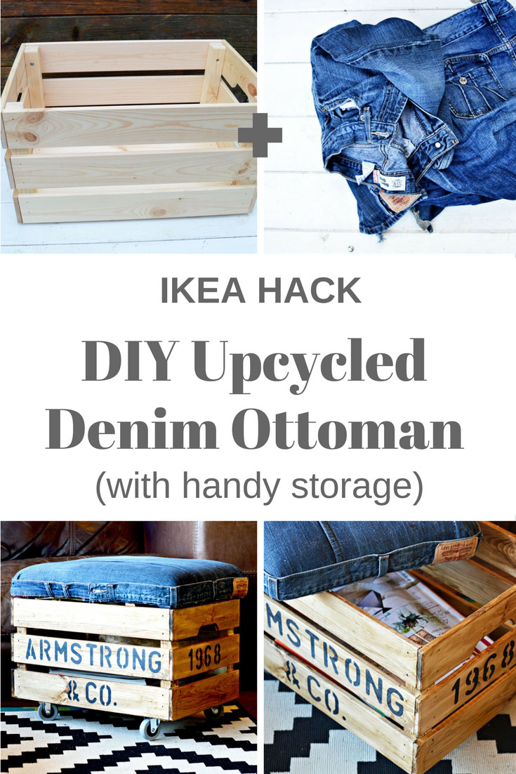 Nifty upcycled denim DIY ottoman made from an Ikea Crate.  Personalise with your own stencils.  Handy storage too!