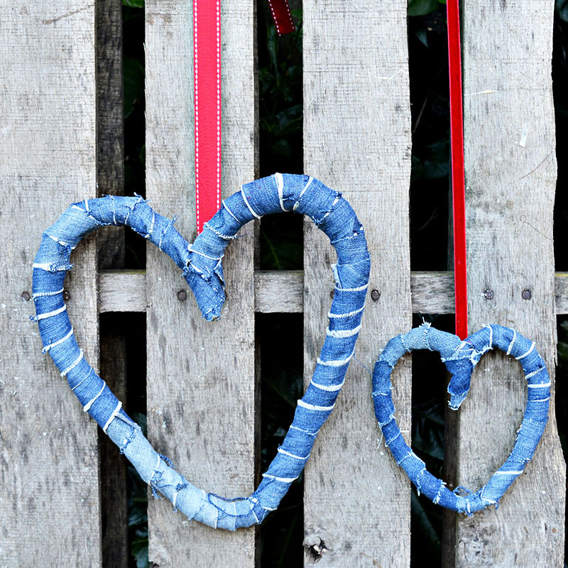 How to make rustic Denim hearts decorations from upcycled old jeans.  Not just for Valentine's day