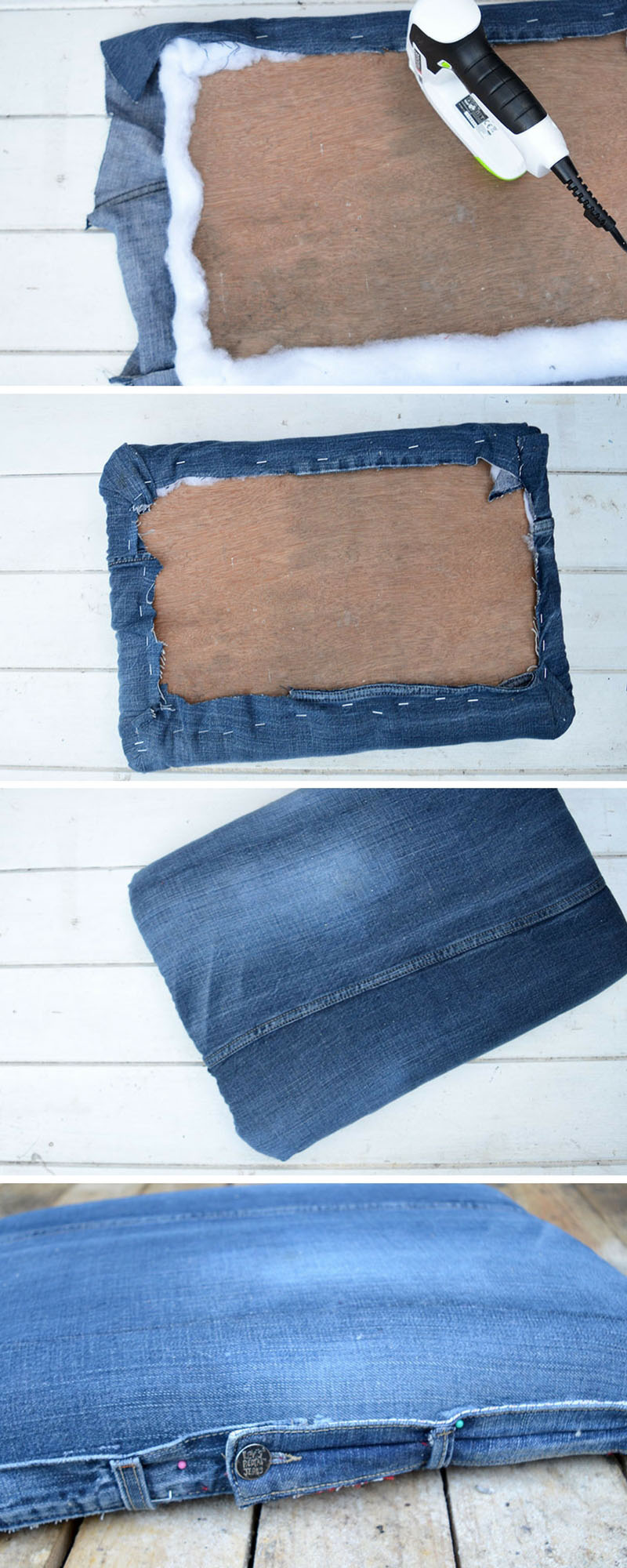 How to upholster a rolling storage ottoman lid