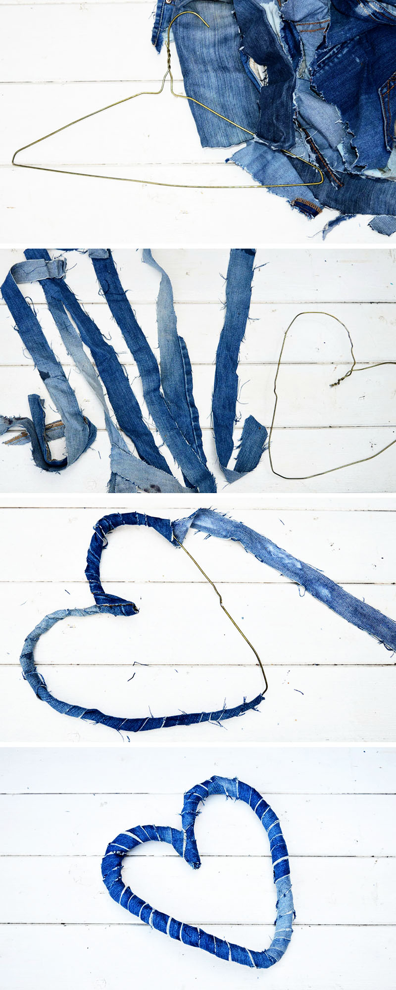 How to make a delightful denim hearts wreath from upcycled jeans.  Great Valentine's decoration