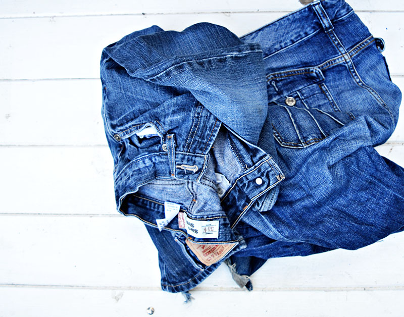 Jeans for DIY ottoman Ikea hack s