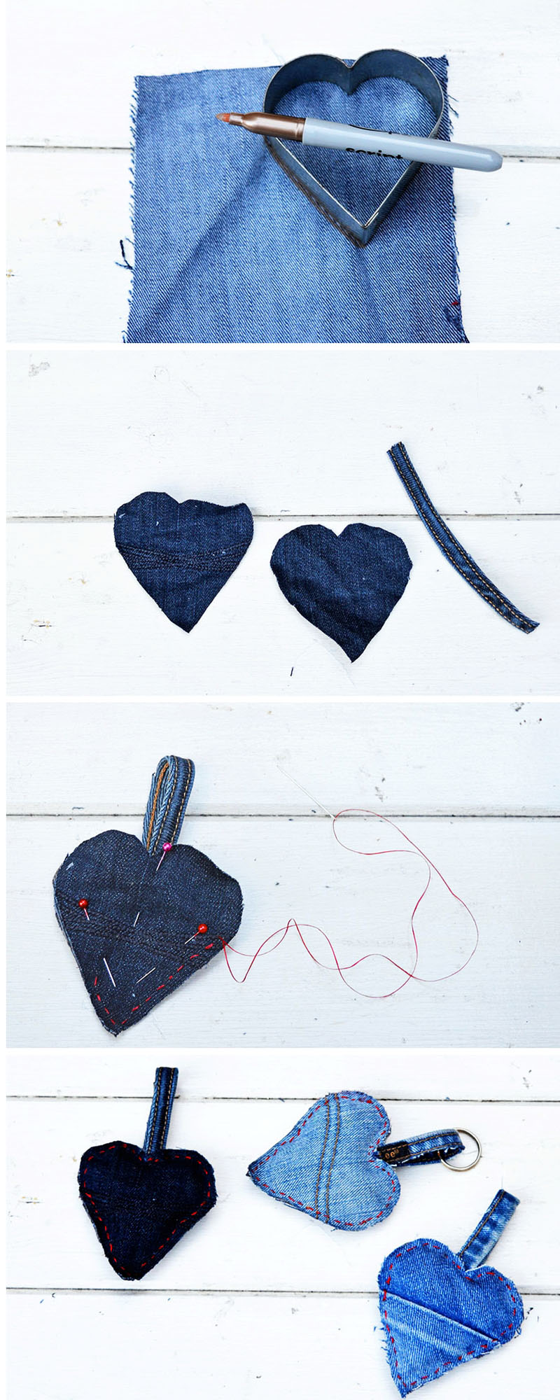 Upcycle scraps of old jeans into gorgeous padded denim hearts to hand as a decoration or use as a keyring.