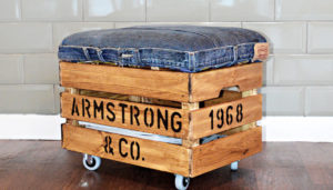 Make a nifty DIY ottoman with storage from a pair of jeans and an IKea Crate