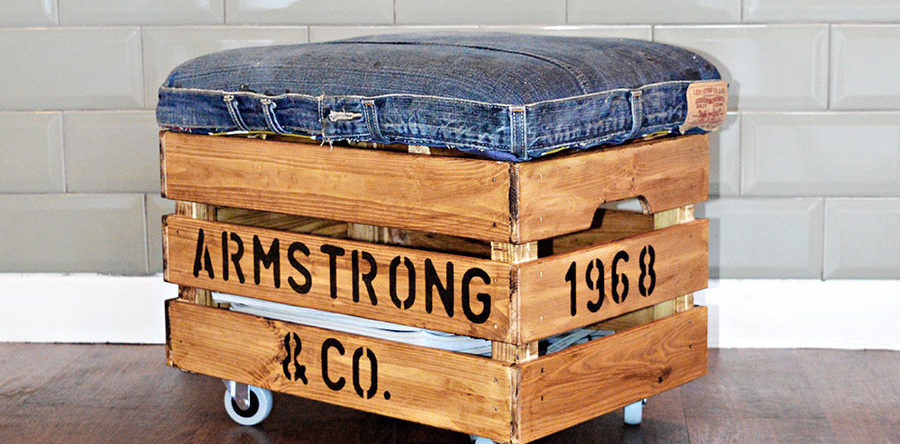 Nifty Denim DIY Ottoman Crate with Storage an Ikea Hack Pillar