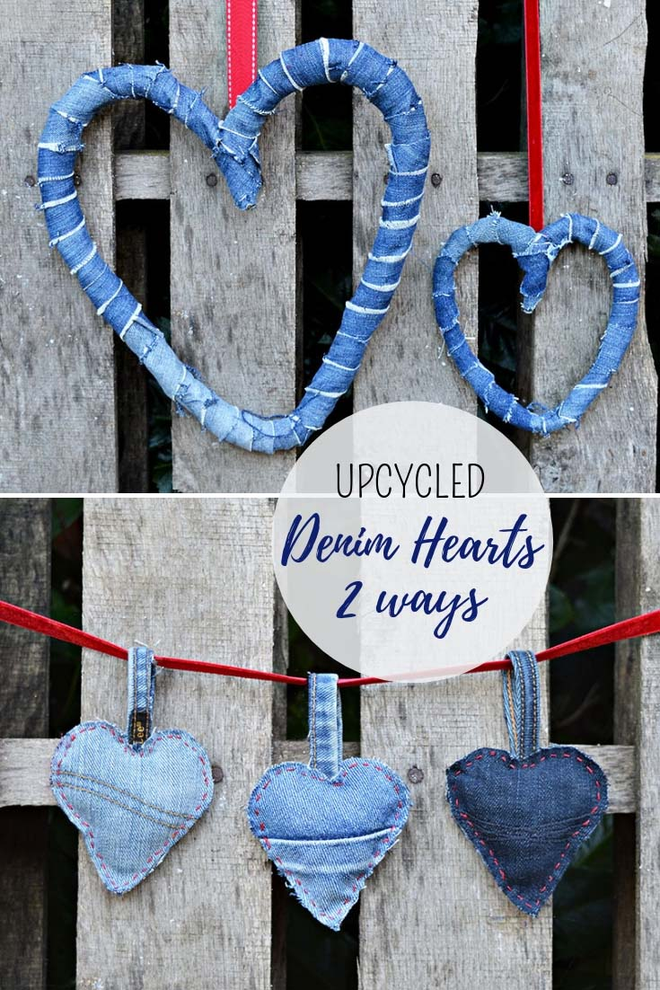 Upcycled denim hearts.