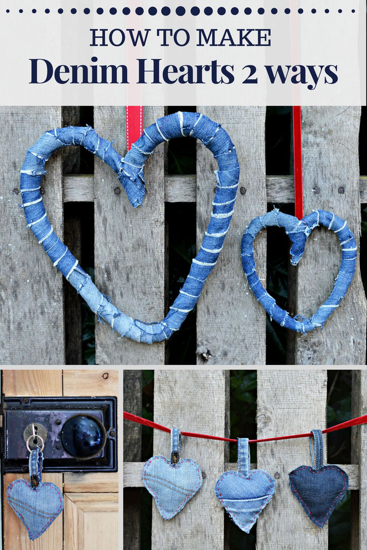 How to upcycle your old jeans to make rustic denim hearts 2 ways.  A lovely wreath decoration and cute padded denim heart keyrings.  Great as decorations or gifts for valentine's day, Christmas or whenever.