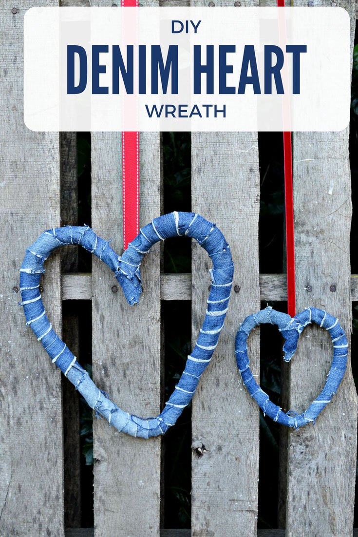 All you need to make some gorgeous rustic denim heart wreaths are bit of scrap denim and an old wire coat hanger.