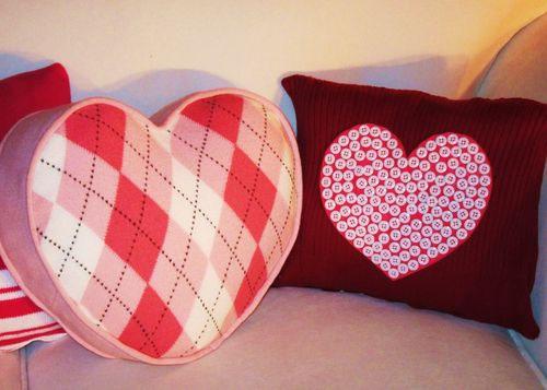 Valentines sweater pillows