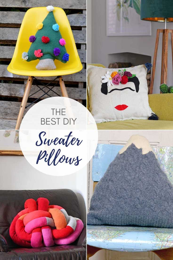 The best upcycled and repurposed DIY sweater pillows.