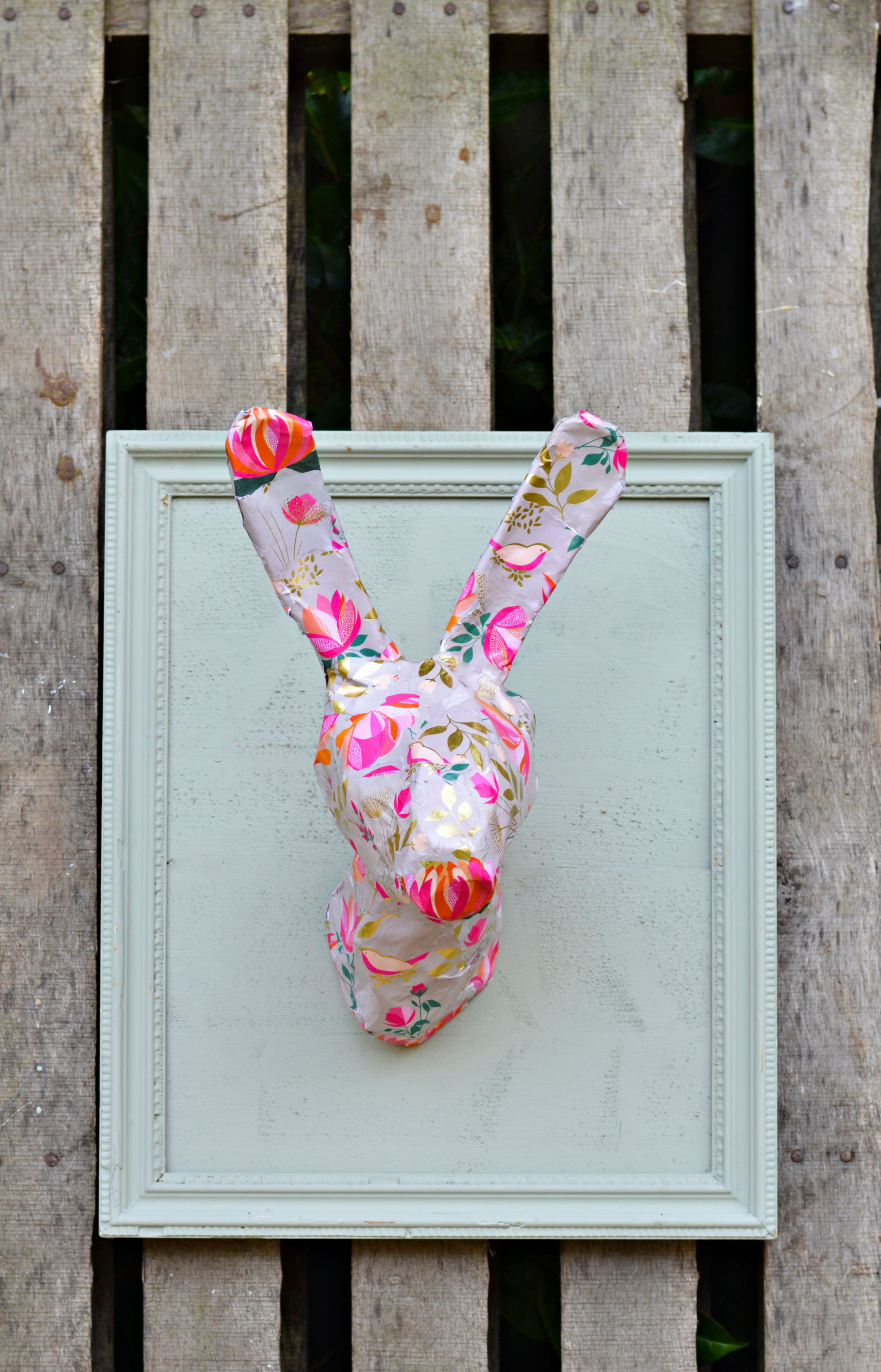 DIY spring/Easter wall decoration.  An Anthropologie knock off rabbit head.