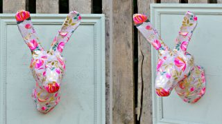 How to make this gorgeous spring/Easter wall decoration. An Anthropologie knock off rabbit head.