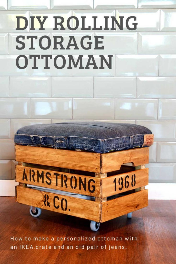 How to make a handy DIY ottoman. Not only is this rolling storage ottoman a great footstool with handy storage it can be personalized too.