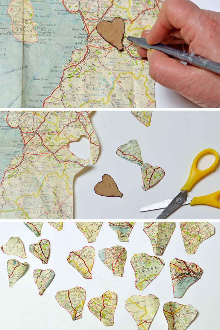 Paper flower petals cut out from old maps for map roses