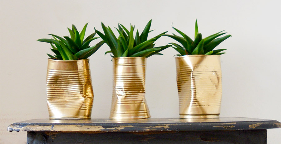 Make some unique diy planters. Crushed shabby glam gold tin can planters.