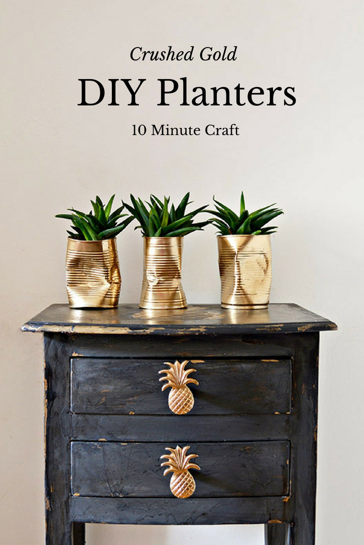 Diy Planters How To Make Gold Crushed Can Diy Planters Pillar Box Blue