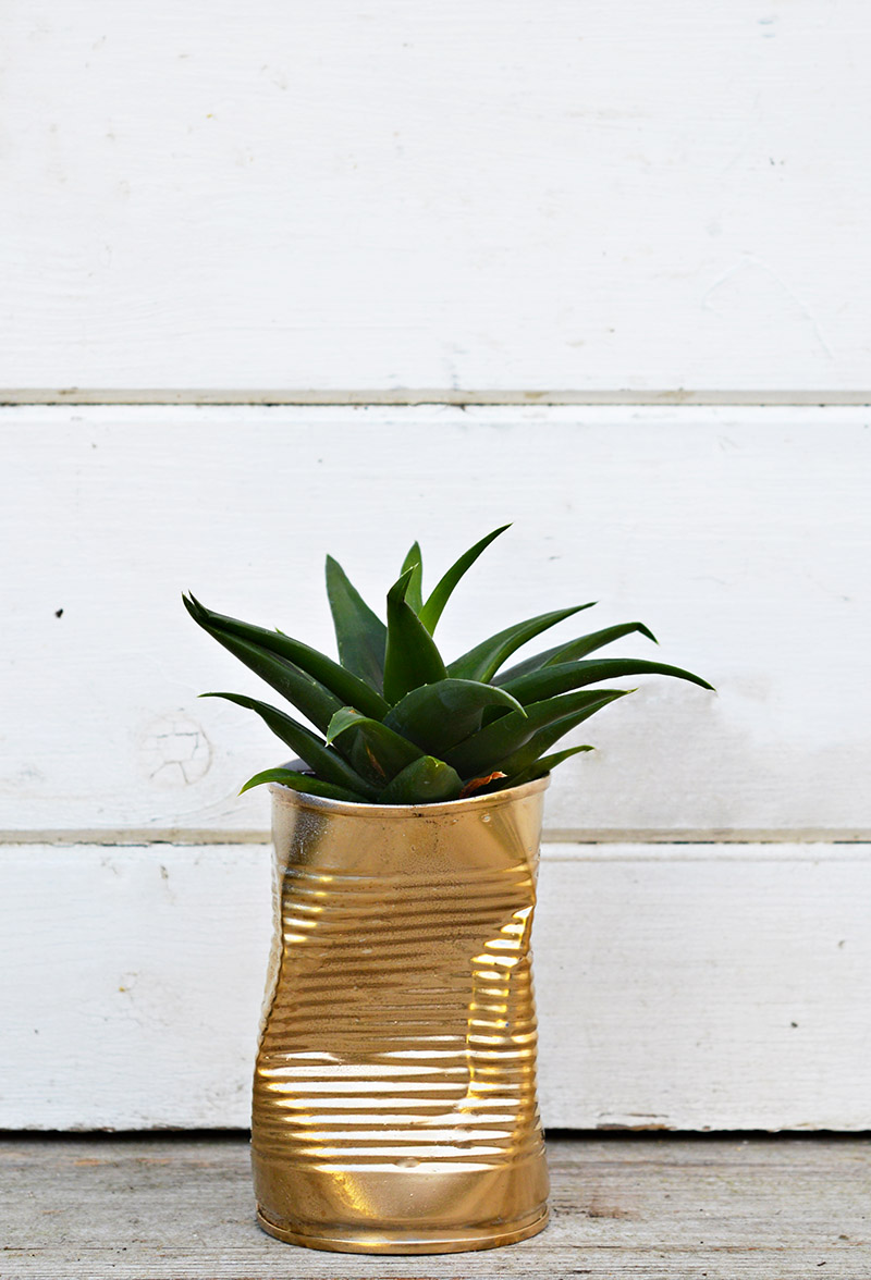 Shabby glam upcycled crushed gold can diy planter.