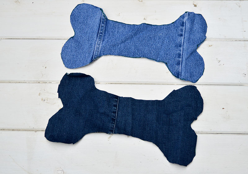 Denim dog bone cut outs