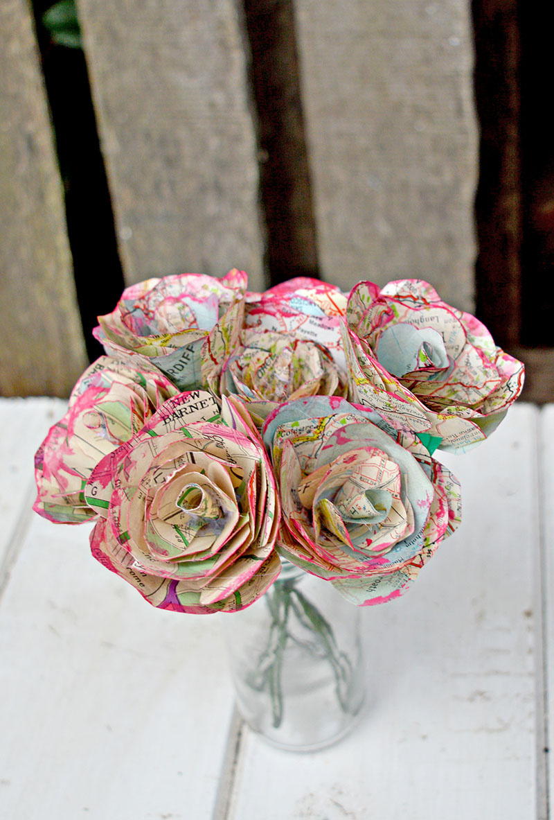 How To Make Map Roses. Lovely Home Decoration And Great Valentines Gift.  Flowers That
