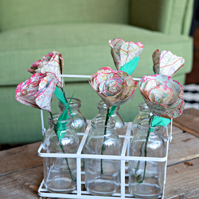 Easy to make map roses for a floral table decoration that won't wilt and die.