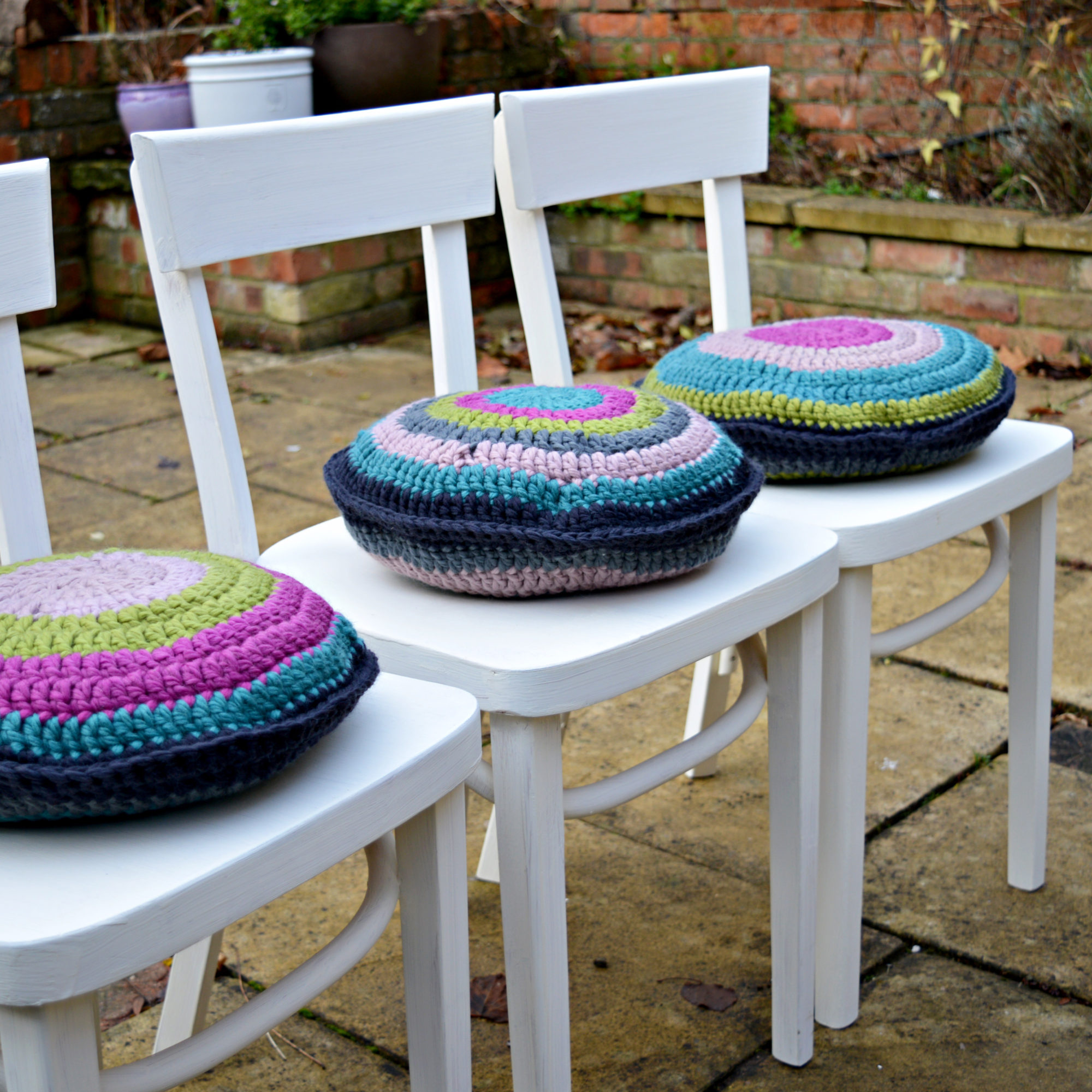 From drab to fab.  Simply upcycled chairs with chalk paint and crochet cushion pads