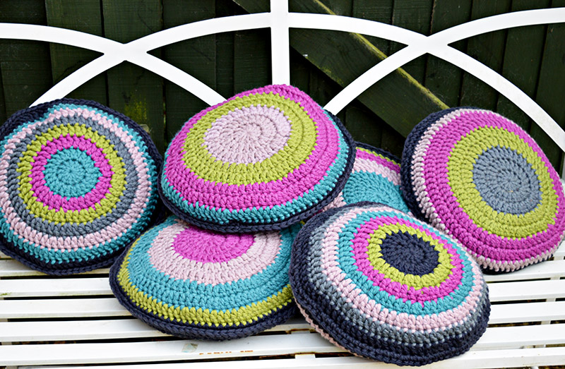 Crochet cushion covers for upcycled chairs.