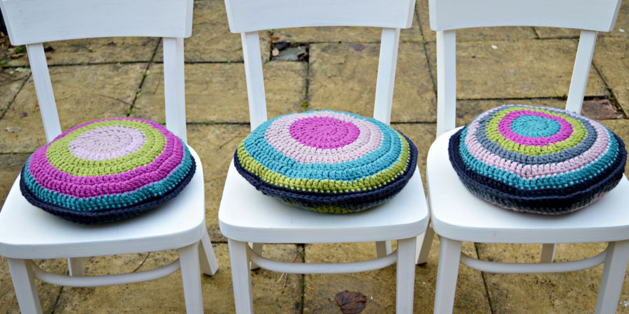 From drab to fab. Upcycled chairs with chalk paint and colourful crochet cushions.