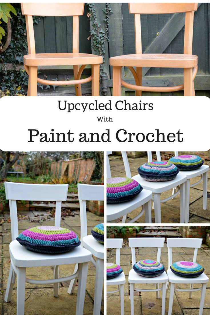 From drab to fab.  Simply upcycled chairs with chalk paint and crochet cushion pads.