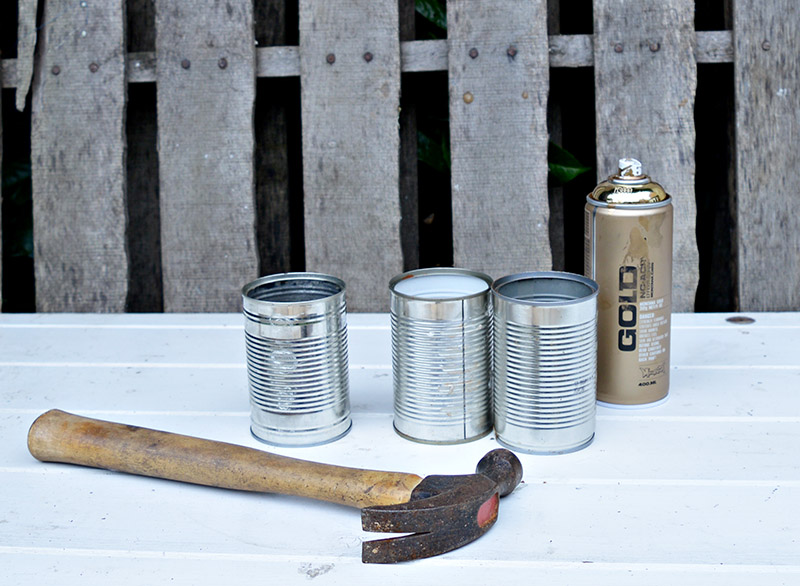What you need to make shabby glam crushed upcycled tin can diy planters.