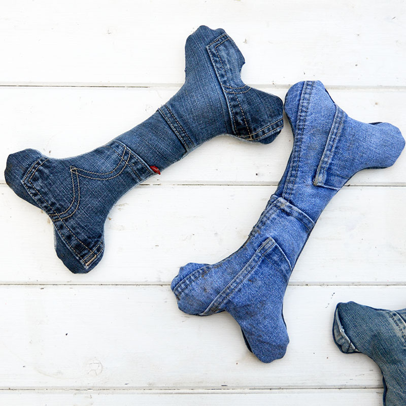Make your dog the coolest handmade dog toys from your old jeans.  The only cost is
