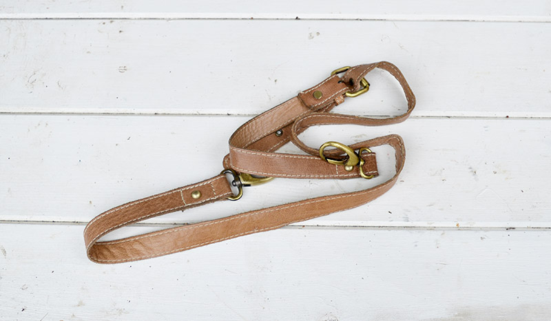 Leather handbag strap ready to upcycle into drawer pulls