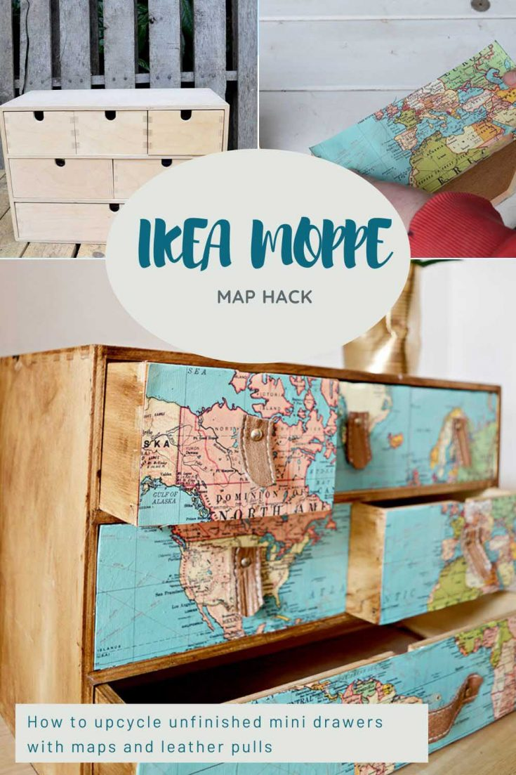 How to give some unfinished IKEA Moppe mini drawers a stylish travel themed upcycle using map decoupage and scrap leather pulls.