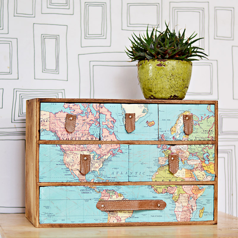 A fantastic IKEA Moppe hack with a vintage world map and leather drawer handles.  Full step by step DIY.  Great gift for those with wanderlust.