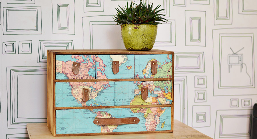 A fantastic IKEA Moppe hack with a vintage world map and leather draw handles. Full step by step instructions.