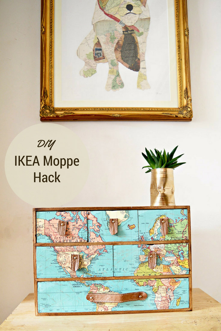 A fantastic IKEA Moppe hack with a vintage world map and leather drawer handles.  Full step by step instructions.