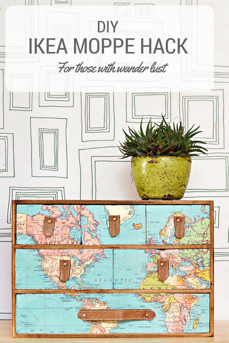 Simple and Brilliant Ikea Moppe Hack With Maps - Pillar Box Blue