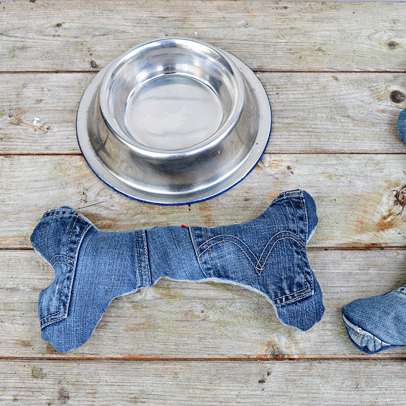 Make your dog the coolest handmade dog toys from your old jeans.  The only cost is the squeakers.
