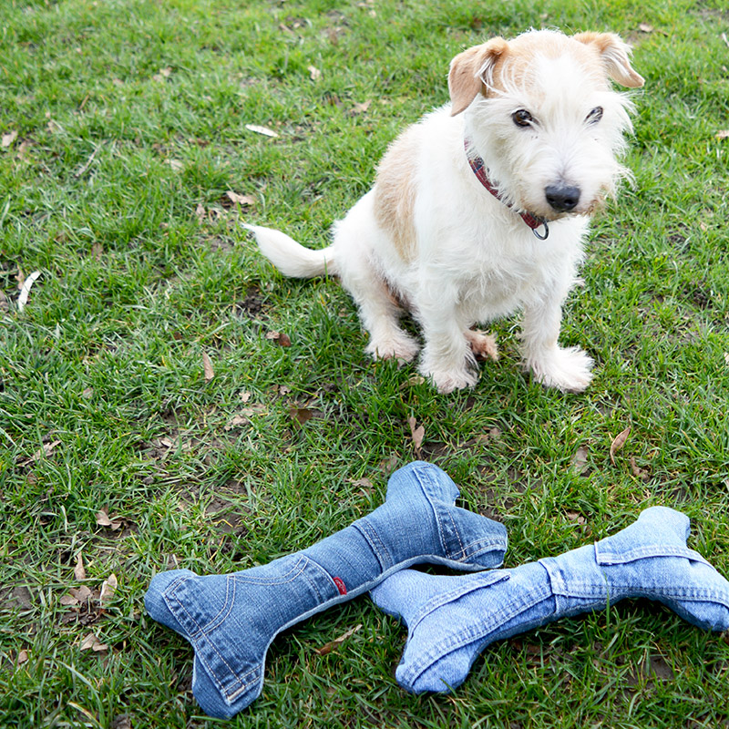 DIY denim dog toy - 11 Ways to Upcycle Old Clothes.  Earth Day, World environment day, recycle and redesign clothing, how to upcycle clothes without sewing, thrift store clothes upcycled, diy t shirt ideas no sew, diy clothes step by step, diy old clothes ideas, no sew t shirt alterations, diy clothing hacks,  diy clothes tutorials