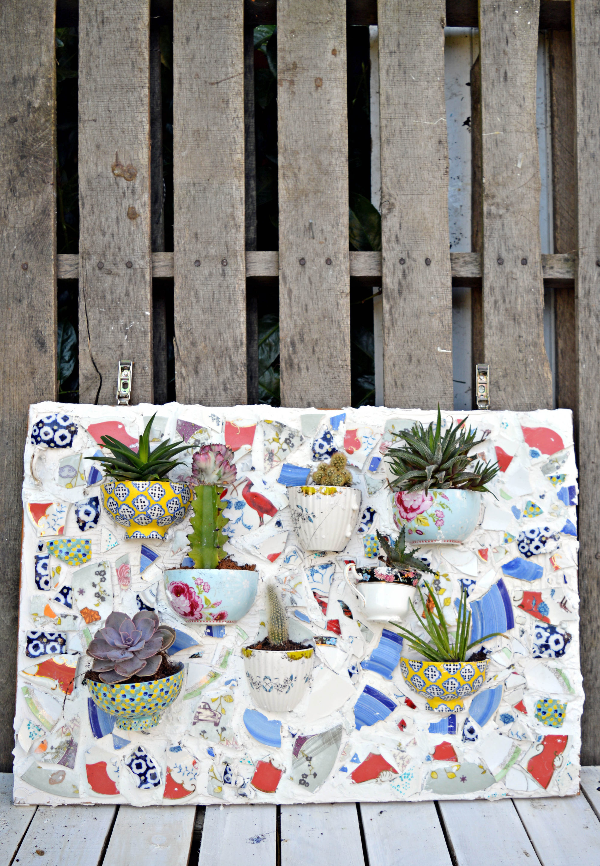 Succulents mosaic wall planter.  Made from upcycled broken crockery.  Step by step tutorial.