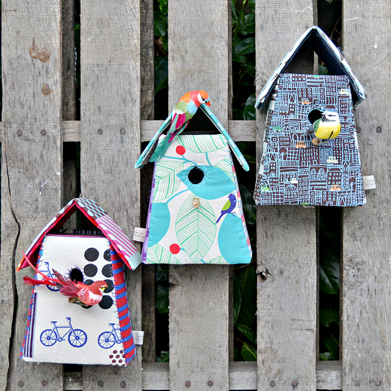 Upcycled Mother's Day gifts - Fabric birdhouses.  Free pattern and tutorial.