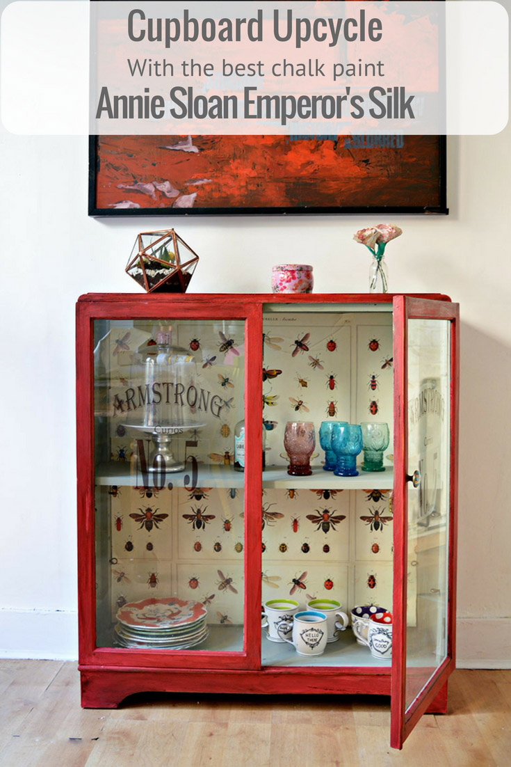 The best chalk paint cupboard upcycle with Annie Sloan Red Emperors Silk, decoupaged vintage graphics (Cavallini's insect wrap) and printable window decals.  Full step by step tutorial.