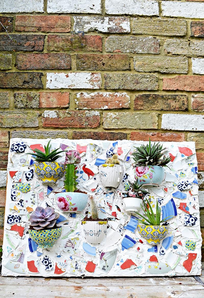 succulent mosaic wall planter