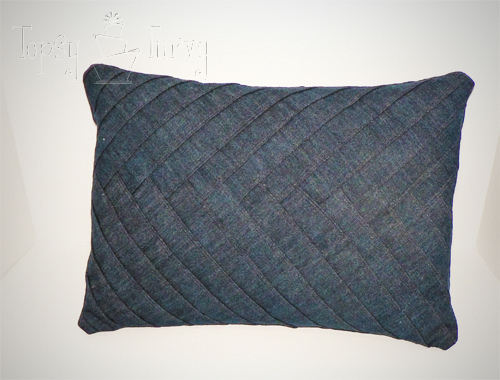 herringbone denim pillows