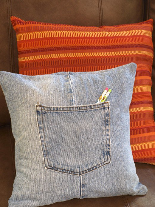jeans pillow with pocket
