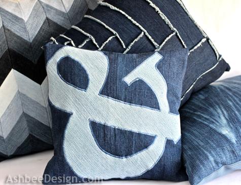 best upcycled denim pillows