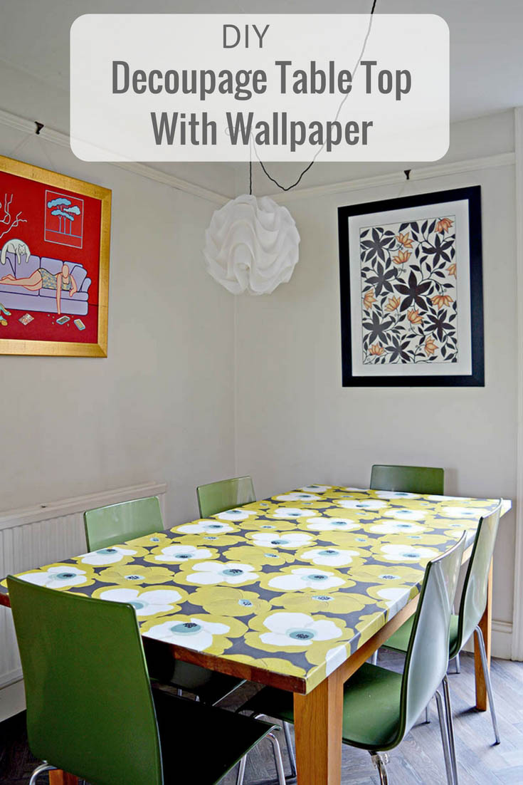 DIY tutorial on how to decoupage a table top with mid century modern wallpaper.