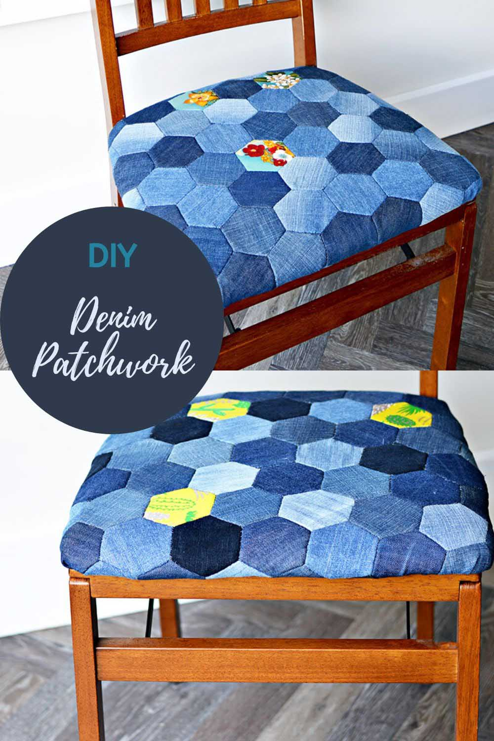 DIY denim patchwork chairs