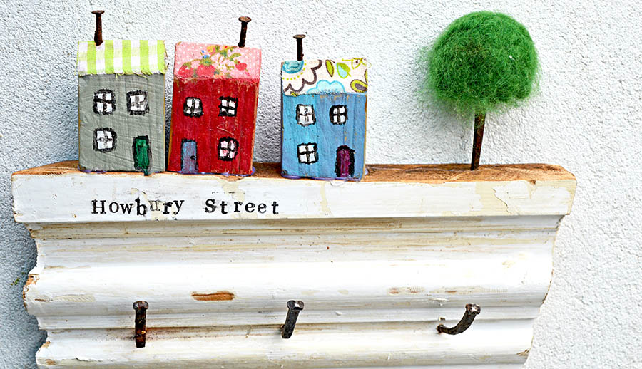 Great scrap wood project upcycled wooden wall key holder that can be personalized with your own street name.